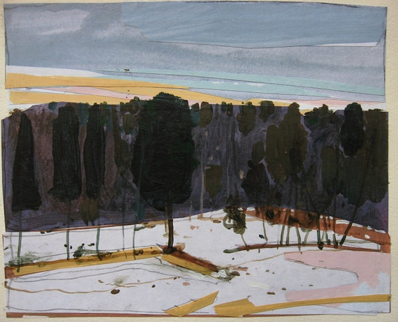 Edge, Original Landscape Collage Painting on Paper, Canada