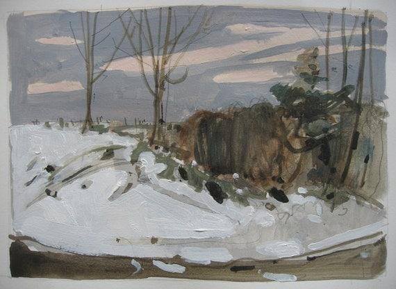 Roadside, Original Landscape Painting on Paper, Canada