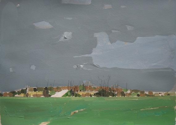April Rain, Original Landscape Painting on Paper, Canada
