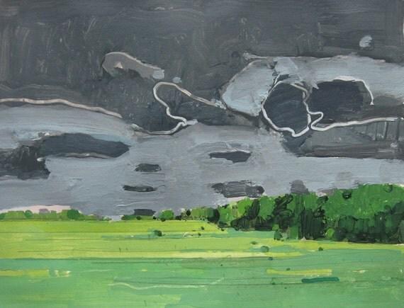 Wet Sky, Original Landscape Painting on Paper, Canada