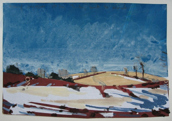 Last Snow Patch, March, Small Landscape Collage on Paper, Original