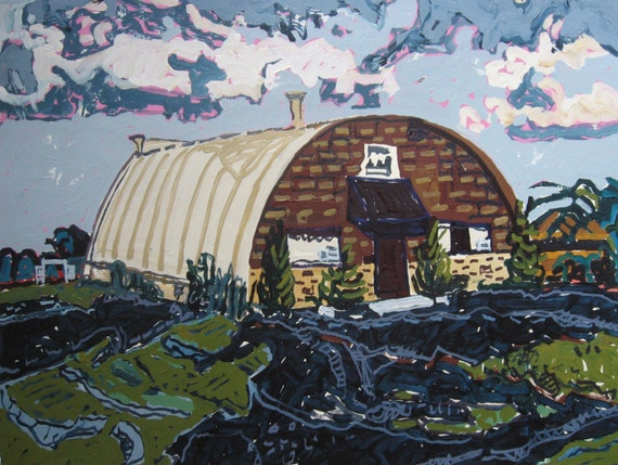 Quonset, Original Larger Landscape Painting on Paper, Stooshinoff