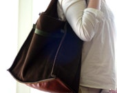 Chocolate suede bookbag -XL