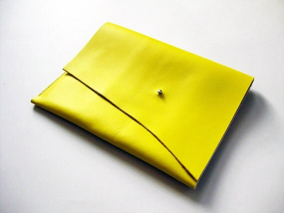 iPad case - Lemon yellow leather