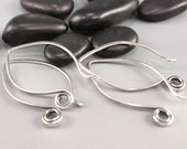 Silver Earwire Findings, Almond Shaped, Hammered Sterling, 2 pair, Hand-Forged