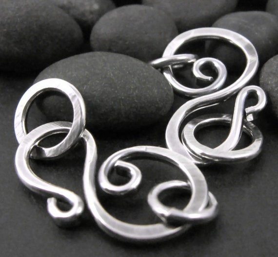 Sterling Clasps, Hand Forged Wirework Hooks, OX'd Silver, 16g, 2 Sets
