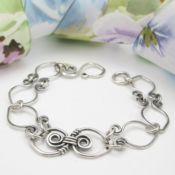 Hand-Forged Infinity Sterling Wirework Bracelet, Artisan Metalwork, Solid Silver