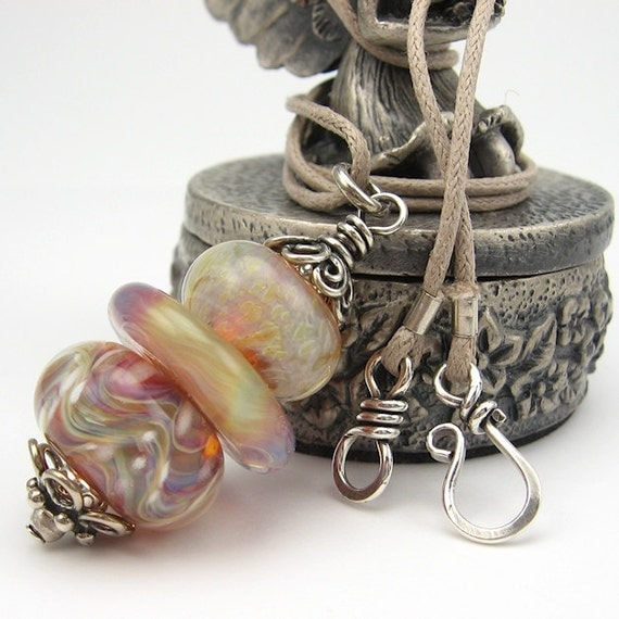 Stacked Lampwork Pendant, Sterling Silver Necklace, Peachy Pinks