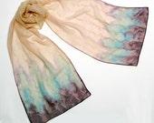 Hand Painted Silk Scarf, Sand Tan Skin,  Muted Champagne Peach,  Brown Sage Aqua, JOSSIANI