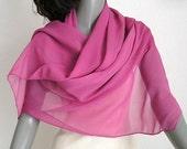 Fuchsia Pink Shawl Wrap Silk 100% Chiffon Unique Hand Dyed,
