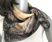 Small Square Scarf, Brown Bamboo Gold Freehand Painted Silk, Luxury Scarflette, Earth Tones, Jossiani.