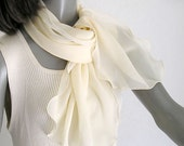 Pale Yellow Scarf Scarflette, Pure Natural Silk Chiffon Scarf, Individually Hand Dyed.