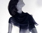 Navy Chiffon Scarf, Dark Blue Small Shoulder Wrap, Natural 100% Silk.