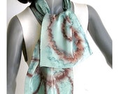 Hand Painted Silk Scarf Soft Tones Earth Ocean Lucite Sea Foam, Hand Dyed Scarf, Crepe Unique Scarf, Sage Rust Browns, Original, Jossiani.