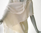 "Linen Sand Beige Light Shawl 100% Silk Soft Pure Mulberry Silk Chiffon 10mm, Unique 22"" x 78""."