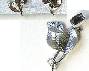 Vintage Silver Set, Mod Sterling Silver, Retro Brooch Earrings, Van Dell Collectible, Smoke Gray Rhinestones, Flowers Jewelry, Fine Jewelry.