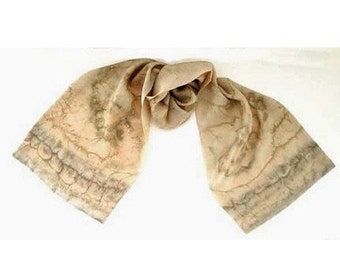 Champagne Scarf, Beige Neck Scarf, Honey Sand Silk, Unique Hand Painted, Hand Dyed, ready to ship, Original, Artisan Handmade, Jossiani.