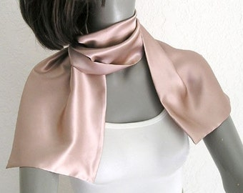Rose Dust Scarf Blush Silk Charmeuse, Light Muted Pink Petite Neck Scarf, Tea Rose Scarflette, Artisan Handmade, Gift for Girl, Artinsilk.