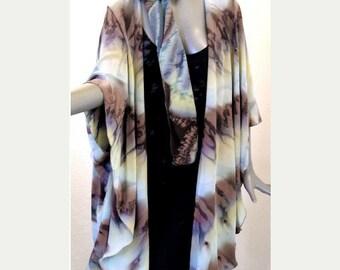 Sage Beige Sand Brown Wrap Soft Coat, Hand Painted Matching Scarf Silk Crepe Set,  JOSSIANI.