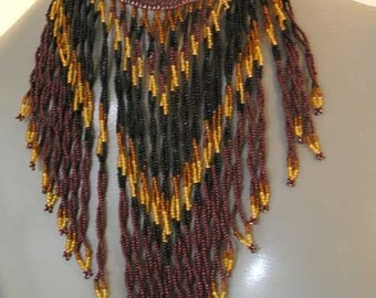 Zulu Necklace, Authentic Zulu, Beaded African Bib, Ethnic Retro Necklace, Earth Tones Beads, Cognac, Misted Yellow,  Brown Black, Like New.