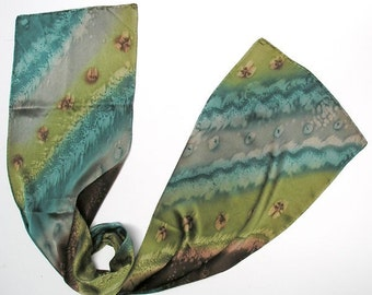 Handpainted silk scarf, Unique Scarves, Sage Pine Gray Scarf, Unique Hand dyed, Bronze Gray Brown, Handmade by Jossiani.
