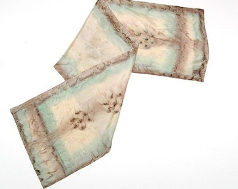 Earth Tones Scarf Hand Painted Silk, Beige Sage Scarf Unique One of a Kind, Honey Sand Wheat Hand Dyed, Unique Neck Scarf Skin Tan, Jossiani