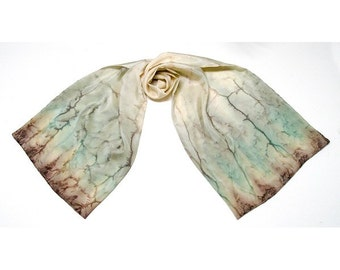 Hand Painted Silk, Unique Scarf, Ivory Beige Scarf, Camel Truffle Sage, One of a Kind, Artist Handmade, Jossiani