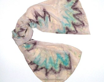 Unique 100% Silk Scarf Linen Beige Sand Scarf Sage Unique Hand Painted Silk Crepe by JOSSIANI.