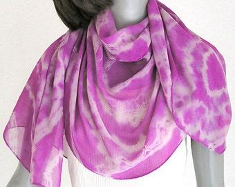 Shibori Coverup, Tie Dye Silk Scarf, Hand Dyed Scarf, Pink Sheer Scarf, Orchid Wrap, Fuchsia Shawl, Unique Wrap, Magenta Rose Dust, Jossiani
