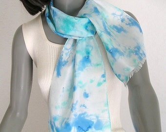 Blue White Scarf, Small Neck Scarf, Turquoise Aqua Scarf, Silk Hat Band, Handpainted Silk, Hand Dyed Scarf, Scarflette Ponytail, Girl Scarf