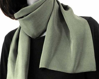 Light Jasper Sage Green Scarf, Olive Green Scarf, Silk Neck Scarf, Muted Moss Scarf 100% Crepe Muted Olive, Unisex Scarf, Scarf for Men.