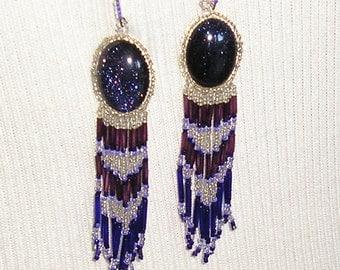 Beaded Earrings, Dangle Earrings, Aventurine, Unique Handmade, Long Dangle, Purple Glitter Stone, Amethyst Glass Glass Beads, Handmade.