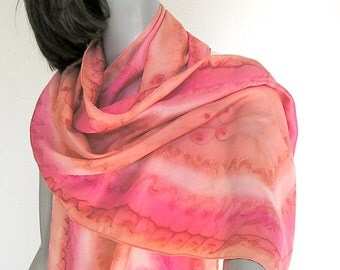 Peach Echo Scarf, Coral Red Orange, Hand Painted Silk, Unique Artisan Scarf, One of a Kind, Jossiani, Hand Dyed Scarf. Petite Scarf Wrap.