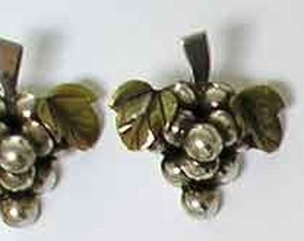 Earrings Sterling Mexico, Hand Crafted Vintage Sterling Silver Vine, 1940s or 50s.