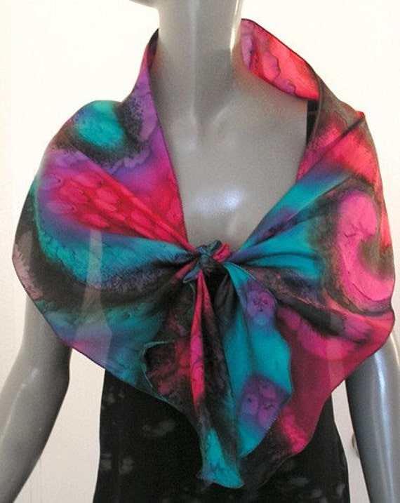 Multicolor Silk Scarf Unique Hand Painted Cerulean Poppy Red Black by JOSSIANI