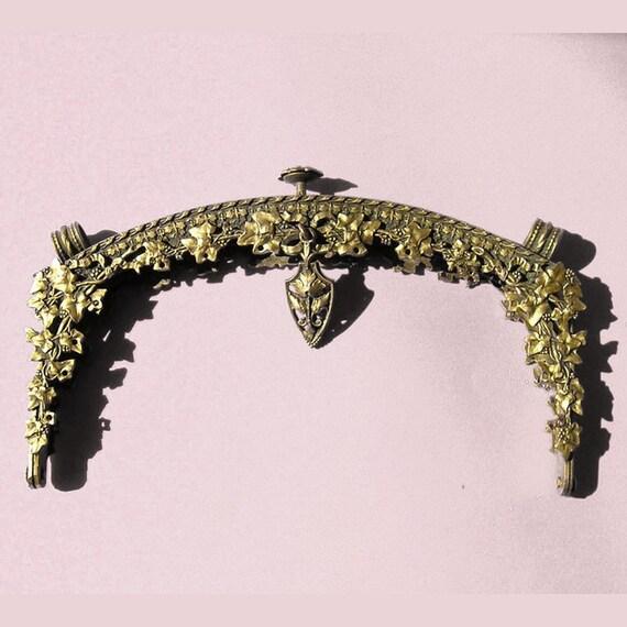 Bag Purse Frame, Ornate Pre Art Deco Vintage From France,  Brass, Ivy 3D Botanical Theme.