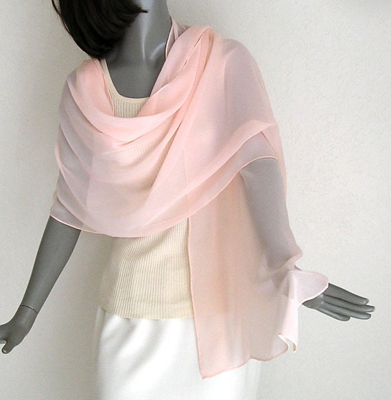 Light Peach Pink Shawl Wrap, Pure Silk Chiffon Stole, Dyed by Hand, One of a Kind - Unique