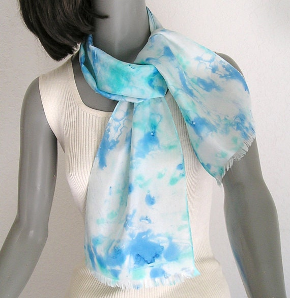 blue white scarf small neck scarf turquoise aqua scarf silk