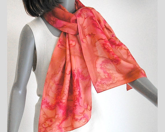 Poppy Red Coral Hand Painted Scarf 100% Silk Unique Creation, Handmade by JOSSIANI.