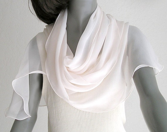 Pale Pink Seashell Long Scarf, Pure Natural Silk Chiffon, Hand  Dyed, One of a Kind.