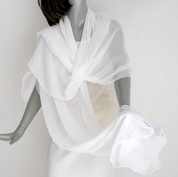 "White Shawl Wrap 100% Silk Natural Chiffon 10mm Bridal Evening Stole 21"" x 94""."