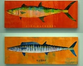 Boyfriend Gift- Saltwater Fish Art Series Large Art Block - Pick the Print - 4 in x 11 in