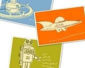 Lunastrella Robot, Space Station and Flying Saucer 8 in x 12 in Set of Three