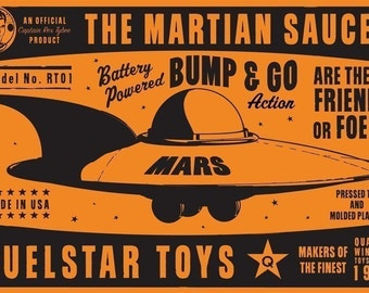"Martian Saucer Box Art Print 8"" x 12""- Kid Decor-Kid Wall Art- Dad Gifts"