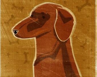 "Red Dachshund Art Print 8"" x 10""- Weiner Dog Art- Dachshund Wall Art- Cute Dog Wall Decor- Dog Print- Dog Gift- Dachshund Gifts- For Mom"