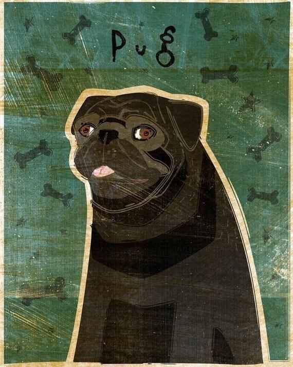 Pug (Black) Print 8 x 10
