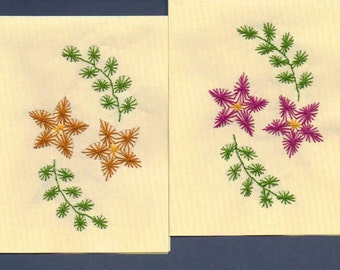 Colorful Flowers Hand Embroidered Note Cards