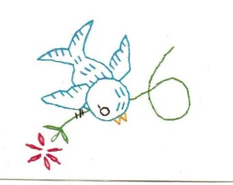 Embroidery Bluebird Greeting Card