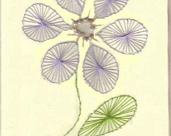 Handmade Hand Embroidery Purple Flower Notecards