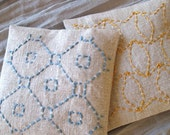 Set of Two Embroidered Lavender Sachets